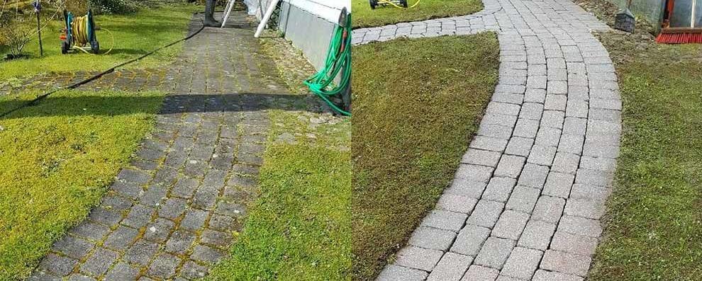 Hustvättarna rengör mark och sten till ett fantastiskt resultat.